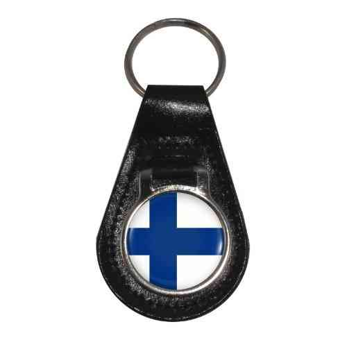 Finland Flag Design Leather Keyring